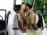 Incredible Lesbian Girls Pull Over Car By Country Road To Have Fun In Open Trunk