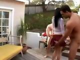 Teen Brunette Found Two Naked Neighbors In Her Backyard