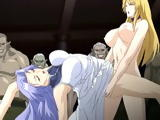 Shemale anime fucked a busty hentai in front of monsters