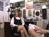 This card dealer is a hot babe who pawns her pussy in a pawnshop