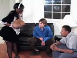Busty Ebony Maid Gets Hard Assfucked After Shocking Two Guys By Showing Them Tits
