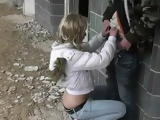 Amateur Blonde Teen Blows Cock Outdoor In the Cold Weather