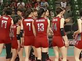 stretch posture of the womens volleyball team of Japan